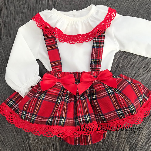 Tartan Frilly Skirt & Blouse Set