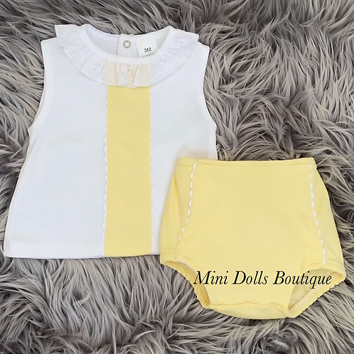 Lemon & White Frill Collar 2 Piece