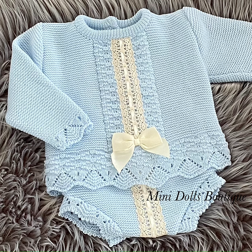 Blue Knitted Lace & Bow Set