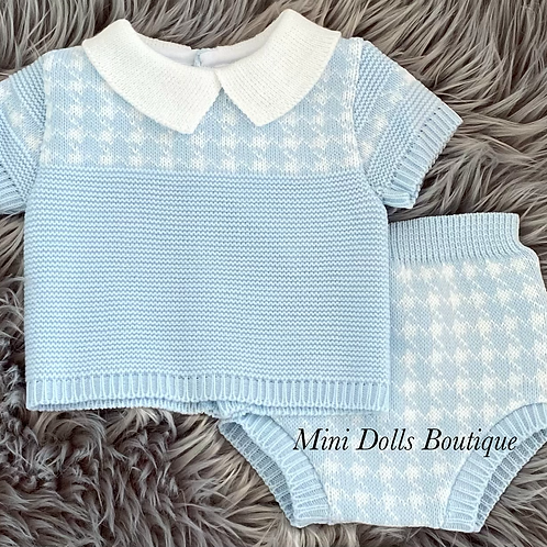 Blue & White Knitted Suit