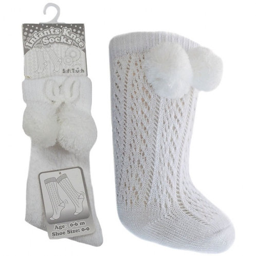White Pelerine Pom Pom Socks
