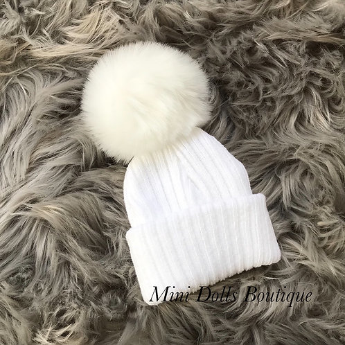 First Size White Pom Pom Hat