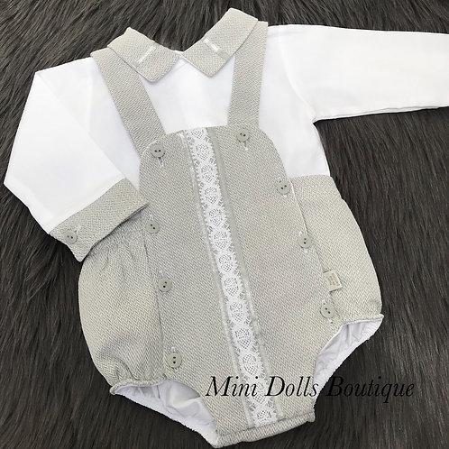 Grey Romper & Shirt Set