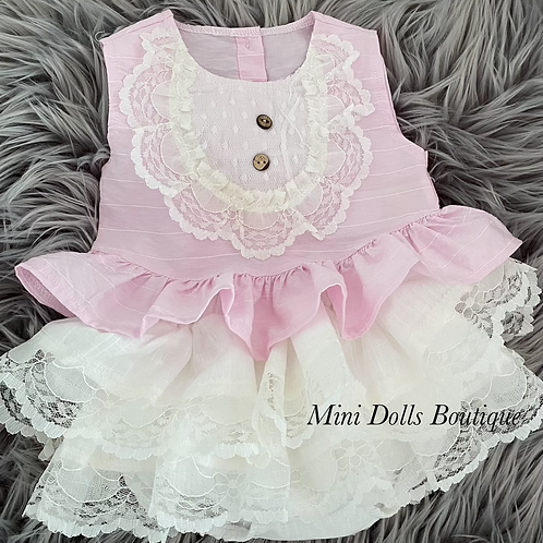 Pink & White Frilly Lace Set