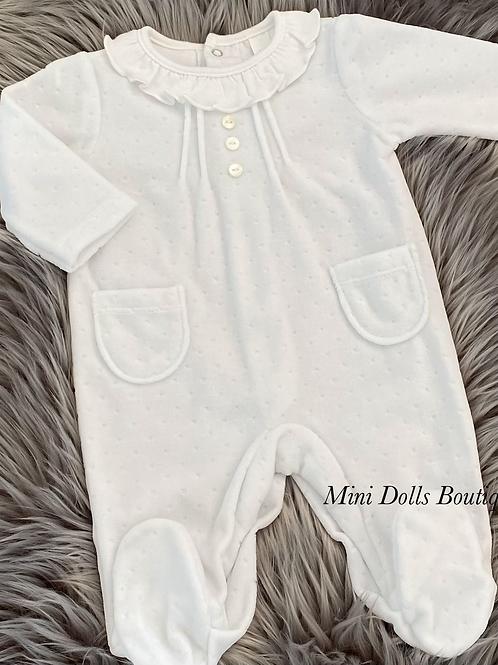 White Velour Babygrow