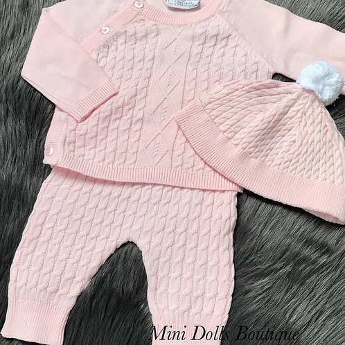 Pink Cable Knit 3 Piece