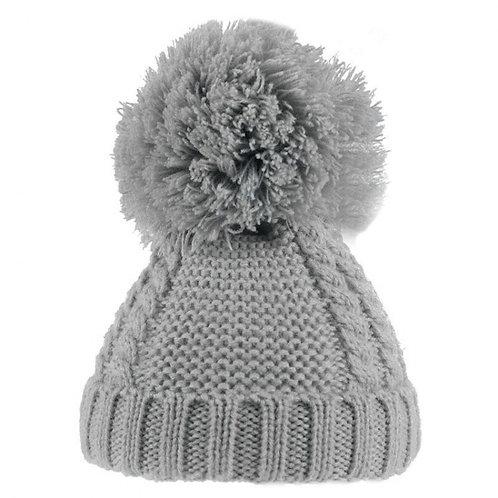 Grey Cable Pom Pom Hat 6-18m