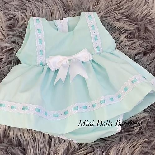 Mint Ribbon Slotted Dress Set