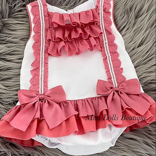 Cerise Pink Bow Lace 2 Piece