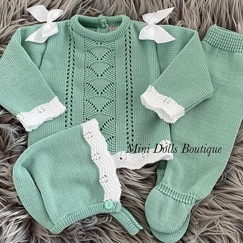 Green Knitted 3 Piece 0-3 Months