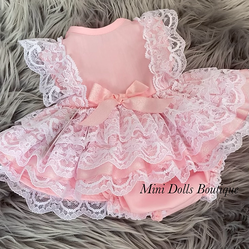 Pink Sparkle Lace Dress Set