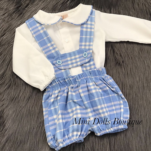 Blue Checked Dungaree Set
