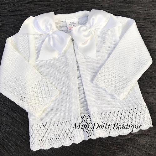 White Double Bow Cardigan