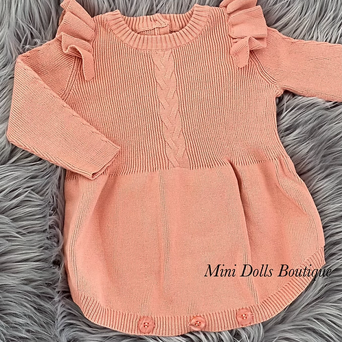 Coral Knitted Romper