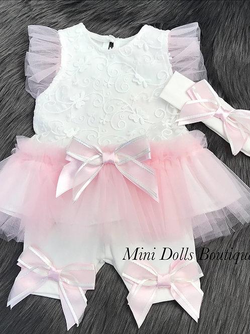 White & Pink Tutu Set