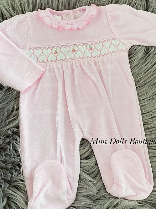 Pink Smocked Velour Babygrow