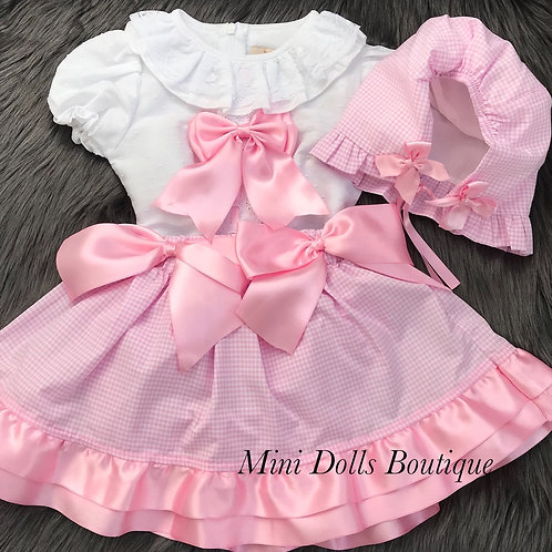 White & Pink Bow 3 Piece