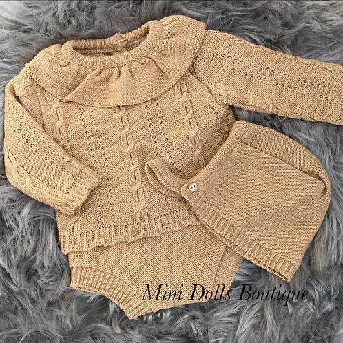 Camel Knitted 3 Piece