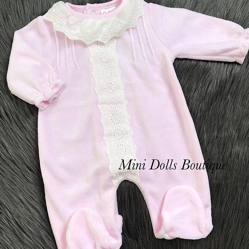 Pink Lace Collar Velour Babygrow