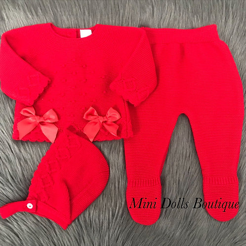 Red Double Bow 3 Piece