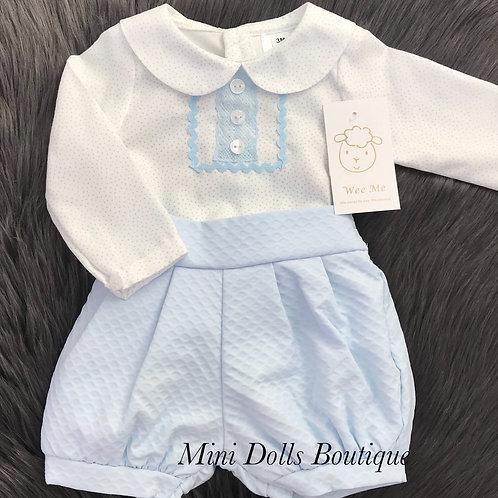 Blue Waffle Shorts & Shirt Set