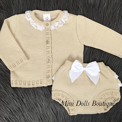 Beige Knitted Frill & Bow Set