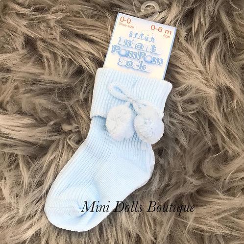 Blue Ankle Pom Pom Socks