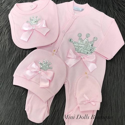 Pink Sequin Crown Set