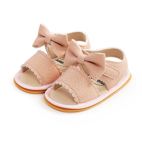 Pink Bow Soft Sole Sandals