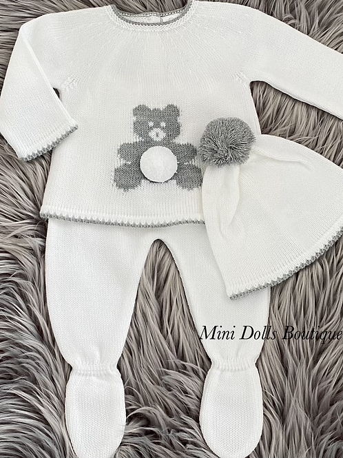 White Teddy Knitted 3 Piece