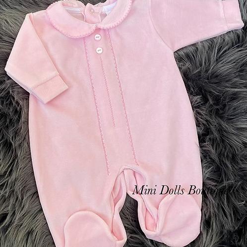 Pink Classic Velour Babygrow