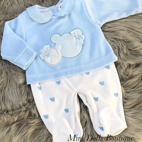 Blue Mickey Velour All In One