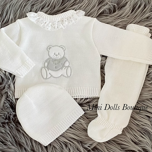 White Teddy Knitted Set 0-3m