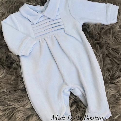 Blue Velour Pleat Babygrow