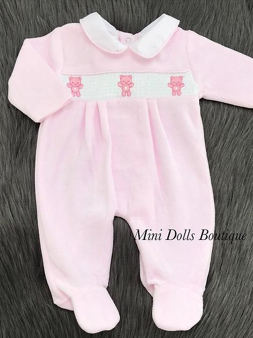 Pink Teddy Velour Babygrow