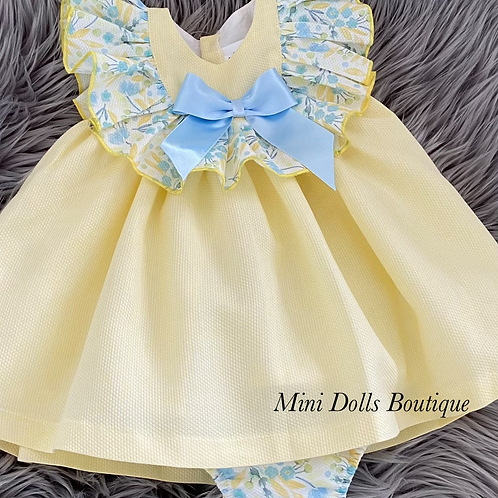 Lemon & Blue Floral Dress Set