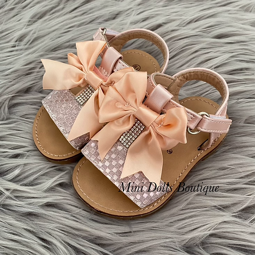 Pink Bow T-Bar Sandals