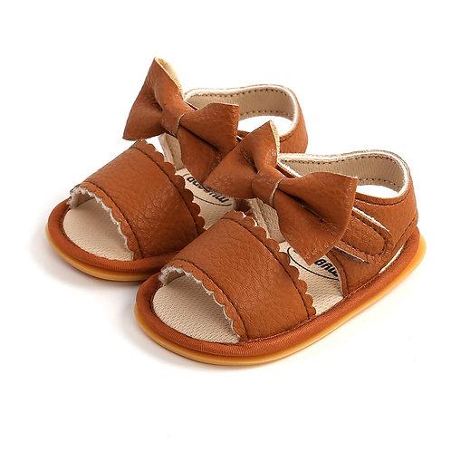 Tan Bow Soft Sole Sandals