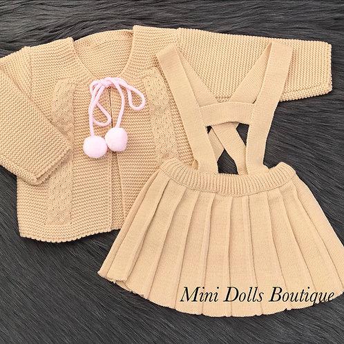 Camel Knitted Skirt Set