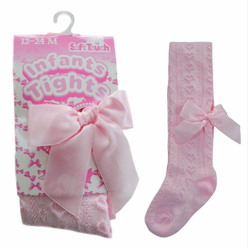 Pink Heart Tights with Bow