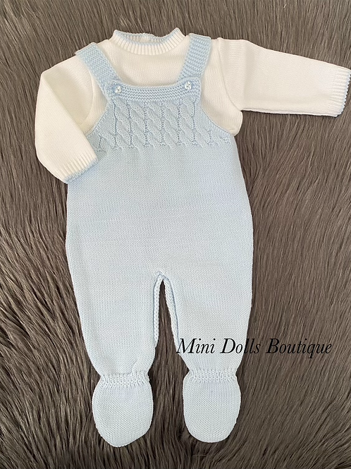 Blue Knitted Dungaree Set