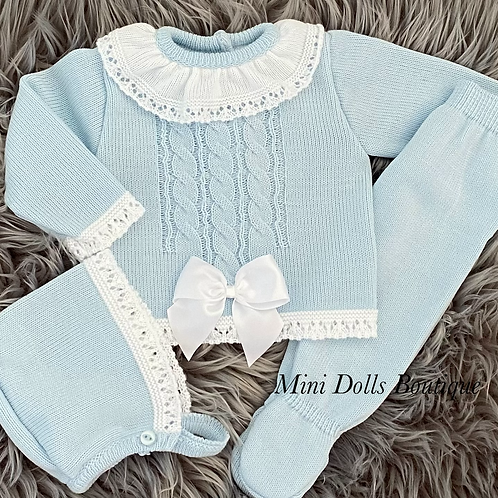 Blue Frill Collar Knitted Set 0-3 Months
