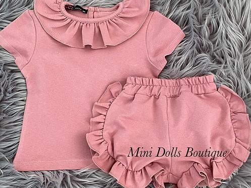 Pink Ruffle Shorts Set
