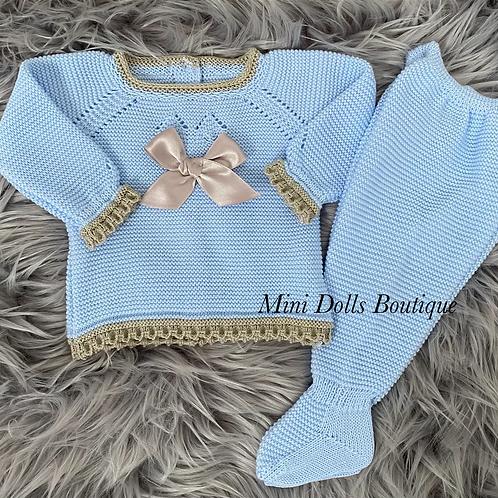 Blue & Beige Knitted Set