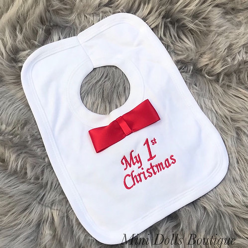 My 1st Christmas Bow Tie Bib