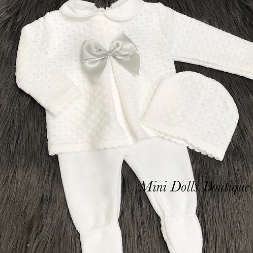 White Knitted 3 Piece - 3 Months