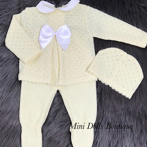 Lemon Knitted 3 Piece - 3 Months