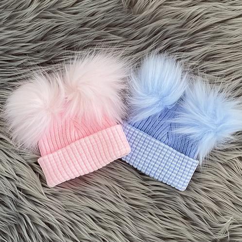 First Size Double Pom Pom Hat