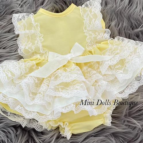 Lemon Sparkle Lace Dress Set