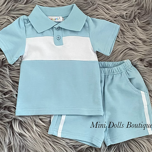 Blue & White Polo Set